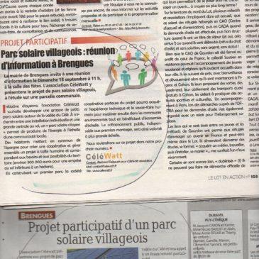 CéléWatt dans la presse lotoise et sur France Inter