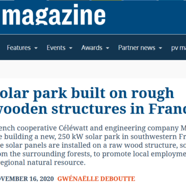 Solar park built on rough wooden structures in France