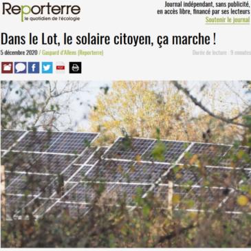Reporterre : Dans le Lot, le solaire citoyen, ça marche !